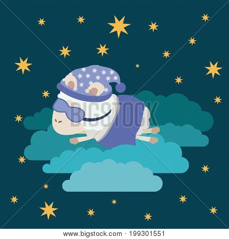 color poster scene night landscape of sleep time with sheeps in the clouds with sleep mask vector illustration