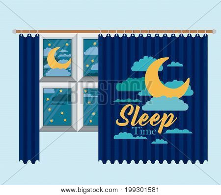 color background of bedroom window with curtain and night landscape sleep time vector illustration