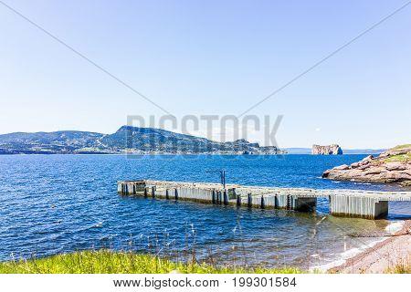 Bonaventure Island Park in Gaspe Peninsula Quebec Gaspesie region with dock pier and view of Perce rock