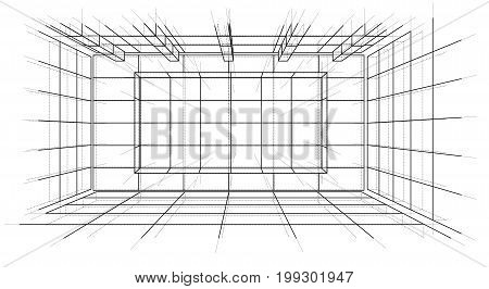 Wireframe Interior. Sketch Style. 3D Rendering Vector Illustration