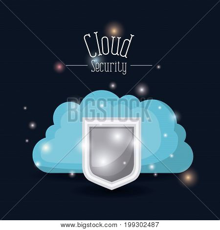 color dark blue background with brightness of colorful cloud security with shield vector illustration