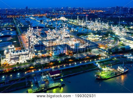 Twilight of oil refinery Shot from drone of Oil refinery and Petrochemical plant at dusk Bangkok Thailand