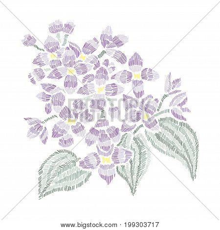Elegant bouquet with lilac flowers design element. Can be used for cards invitations fashion ornaments fabrics manufacturing clothing design. Embroidery style decorative flowers. Editable