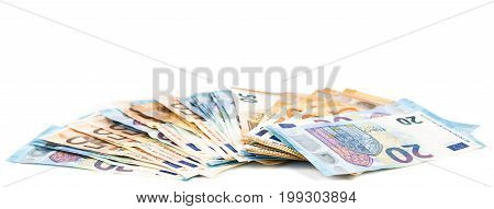euro banknotes with different denomination on white background. Panoramic picture