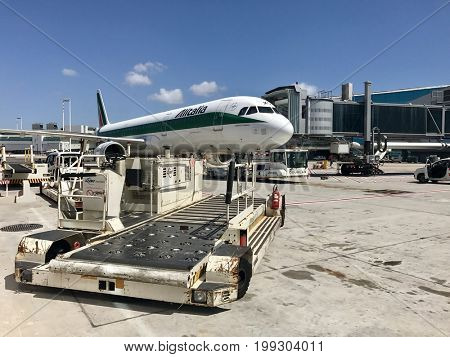 ROME - AUGUST 11, 2017: An Ailitalia Airbus A320 on stand at Rome Fiumicino Leonardo da Vinci International Airport.