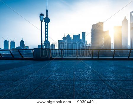 the bund skyline with the oriental pearl tower,shanghai,china.