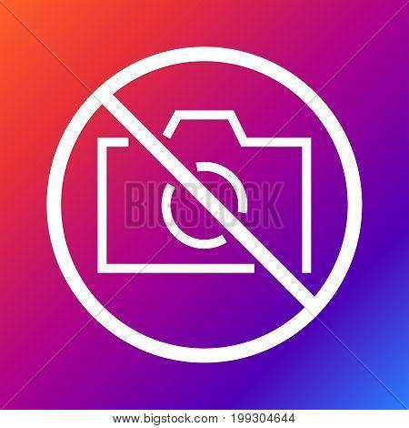 No camera, no photo, sign prohibition - Vector. Eps 10 Editable stroke