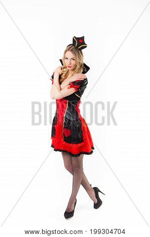 Red Queen cosplay - pretty young woman with long legs is posing, white background poster