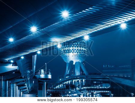 distant view of oriental pearl tower at night,shanghai,china.