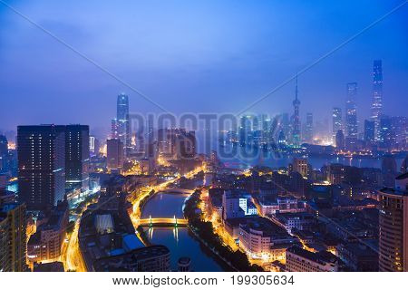 illuminated the bund skyline,huangpu district,shanghai