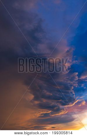 Dramatic Sky With Storm Cloud Before Raining During Sunset.