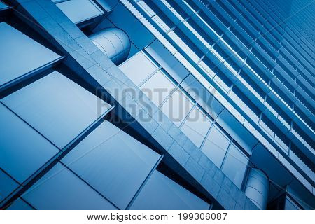 exterior of glass building,blue toned.