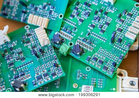 Detail of an electronic printed circuit board .