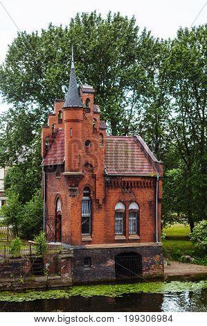 Fairytale red brick house-castle in Kaliningrad, Russia.
