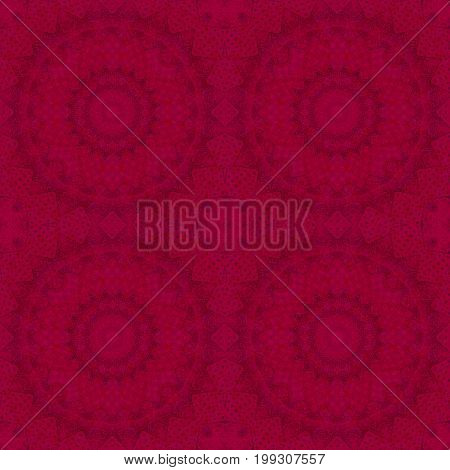 Seamless circle ornamental pattern red background textile