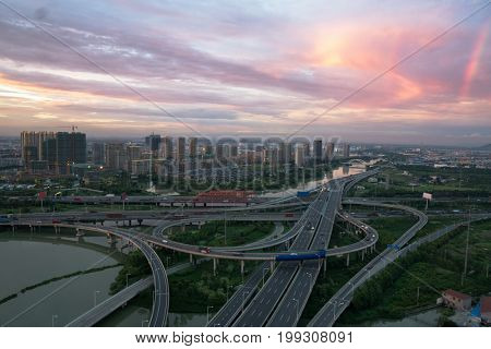 aerial view of tianjin skyline with flyover,China.