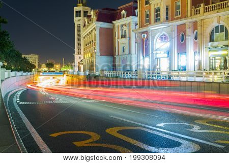 urban road in downtown of Tianjin at night.