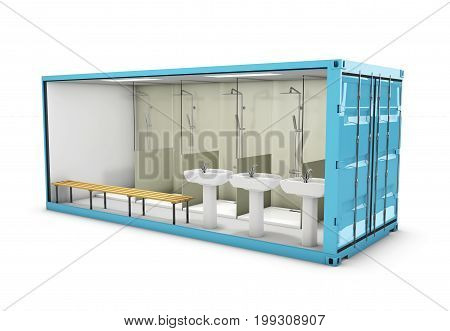 3D Illustration Of Container Bathroom. Concept Of Reuse Container.