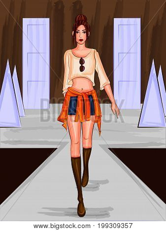 Vector design of beautiful modern stylish woman model on ramp
