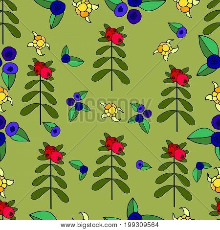 Berries lingonberry blueberry cloudberry juicy forest seamless pattern.Vector hand drawn color illustration. Colored page for adults and children. Designbooktextileprintposterfabric