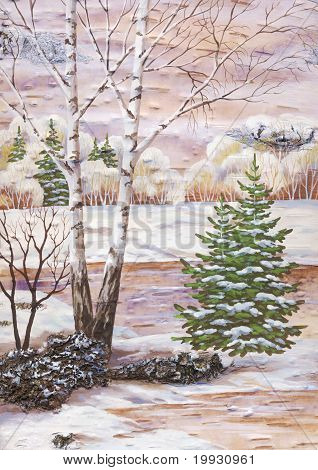 Landscape with a birch and fur-trees