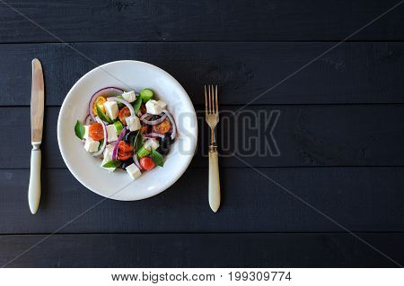 Fresh And Healthy Vegetable Mediterranean Salad With Feta Cheese, Cucumber, Tomato, Olives And Red O