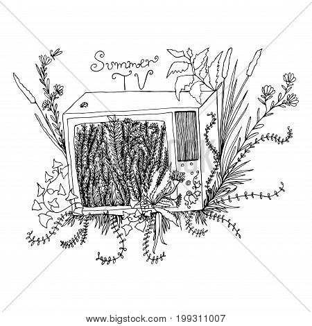 Funny black and white art illustration cartoon televisor with grassflowersfoliageisolated.Vector hand drawncolored page for adults and children.Booktextile print poster design stickercard