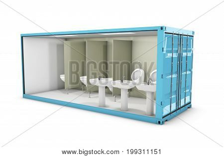 3D Illustration Of Container Toilet. Concept Of Reuse Container.