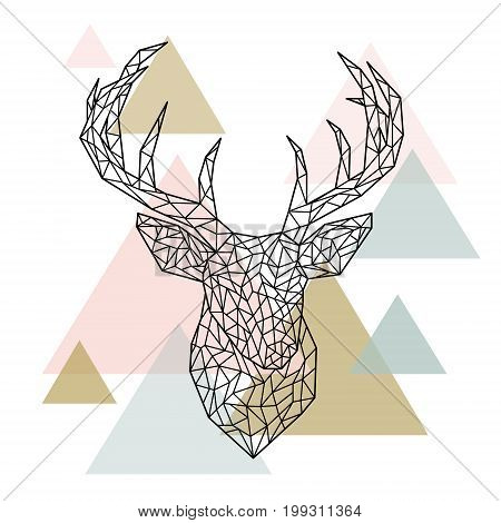 Polygonal head deer portrait. Scandinavian style. Vector illustration.