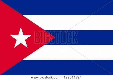 Flag Cuba flat icon. State insignia of the nation in flat style on the entire page. National symbol in the form of a vector illustration