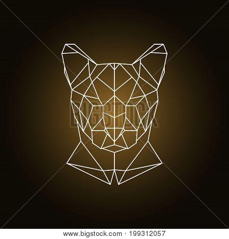 Puma head portrait. Polygonal style. Vector illustration.