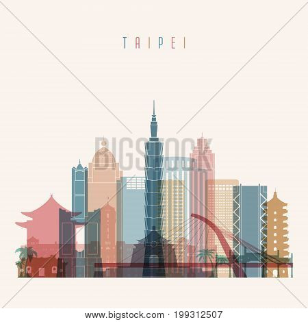Taipei skyline detailed silhouette. Transparent style. Trendy vector illustration.
