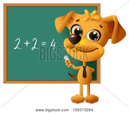 Yellow dog teacher stands at blackboard. Math lesson two plus two equals four. Isolated on white vector cartoon illustration