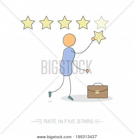Vector doodle isolated illustration. Businessman make a rate with five stars and case portfolio. Concept of customer reviews, rating or user app feedback