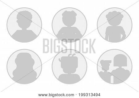 Vector set of monochrome six avatars - men, woman and family - round avatars