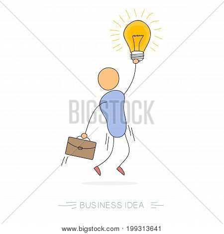 Vector doodle illustration jumping businessman with bulb lamp in hand and case portfolio. Concept of successful employee, good business idea or value proposition
