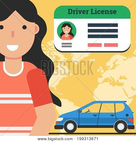 Vector square flat banner of woman with car and driver license. Concept of successful training in drivers school