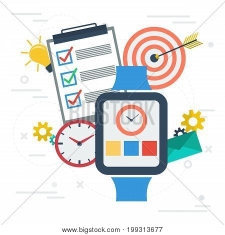 Vector square banner. Concept of time management. App on smart watch, check list, clock and goal target in flat style on white background