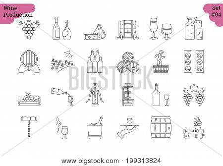 Vector set of 24 linear outline icons. Wine production and service isolated pictographs. Viticulture, winemaking and storage, tools and equipment