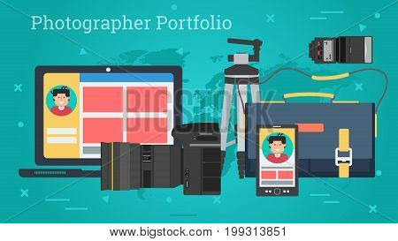 Vector horizontal banner of personal photo portfolio. Photographic equipment, camera, tripod, flash, bag, computer and smart phone in flat style