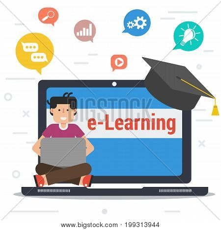 Vector square banner of distance education, e-learning. Man sitting on laptop with graduate cap on corner and different colored educational icons in top. Flat style