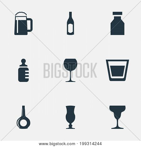 Elements Cup, Bottle, Antibiotic And Other Synonyms Container, Alcohol And Cocktail.  Vector Illustration Set Of Simple Water Icons.