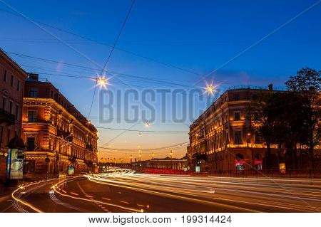 Deep white night in Saint Petersburs. Night view of city traffic with long exposure