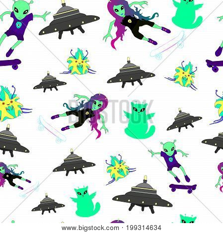 Alienfantasticcartoonseamless pattern.Alien catguygirl on a skateboardflying saucer cute monster.Vector illustration coloring page for adult and childrenart booktextileprint posterdesign