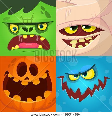 Cartoon monster faces vector set. Cute square avatars and icons. Monster pumpkin face mummy zombie