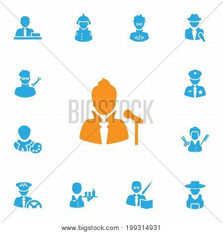 Collection Of Fireman, Vocalist, Leaner And Other Elements.  Set Of 13 Position Icons Set.