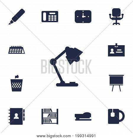 Collection Of Blackboard, Book, Airchair And Other Elements.  Set Of 13 Workspace Icons Set.