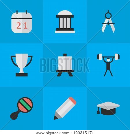 Elements Measurement Dividers, Pen, University And Other Synonyms Easel, Painting And Goblet.  Vector Illustration Set Of Simple Knowledge Icons.
