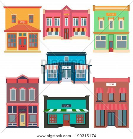 Store shop front window buildings color icon collection