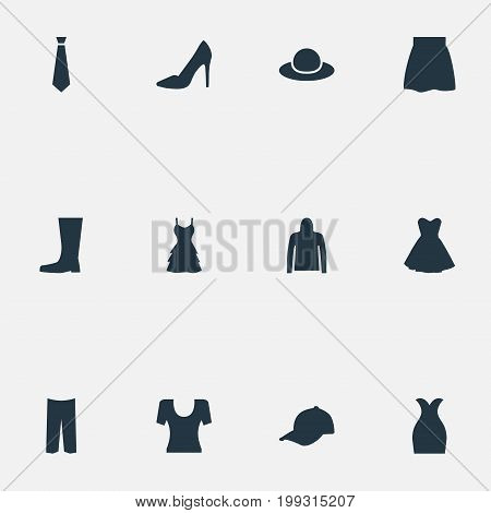 Elements Sport Headwear, Elegant Headgear, Skirt And Other Synonyms Breeches, Male And Pants.  Vector Illustration Set Of Simple Garments Icons.